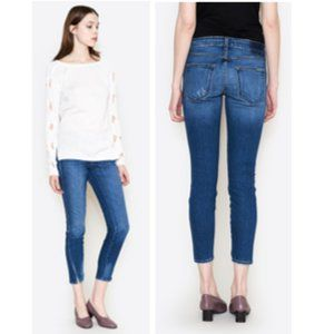 AMO Denim Twist Cropped Jeans in Mariner Wash
